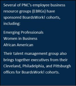 Several of PNC's employee business resource groups (EPRGs) have sponsored BoardsWork! cohorts, including: •	Emerging Professionals •	Women in Business •	African American Their talent management group also brings together executives from their Cleveland, Philadelphia, and Pittsburgh offices for BoardsWork! cohorts.