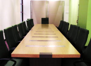 An empty conference room before a board meeting