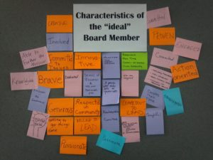 """A wall of post it notes on the theme of """"Characteristics of the Ideal Board Member"""""""